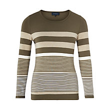 Buy Viyella Striped Jersey Top, Khaki Online at johnlewis.com