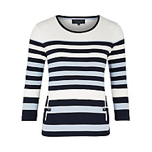 Buy Viyella Petite Grosgrain Trim V-Neck Top, Navy Online at johnlewis.com