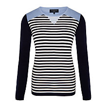 Buy Viyella Petite Insert Striped Jumper, Navy Online at johnlewis.com