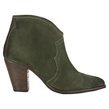 Buy Jigsaw Cara Suede Ankle Boots, Olive Online at johnlewis.com