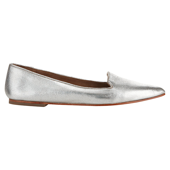 Buy Jigsaw Cecile Flat Ballerina Pumps, Silver Leather, 3 Online at johnlewis.com