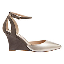 Buy Mint Velvet Olivia Leather Shoes, Grey / Gold Online at johnlewis.com