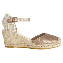 Buy Jigsaw Heeled Suede Espadrille Sandals, Gold Online at johnlewis.com