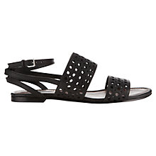Buy Jigsaw Lucile Leather Flat Sandals, Black Online at johnlewis.com