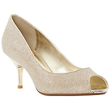 Buy Dune Delia Peep Toe Kitten Court Shoes, Gold Online at johnlewis.com