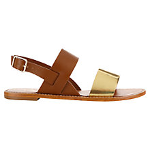 Buy Jigsaw Issy Leather Sandals, Tan Online at johnlewis.com