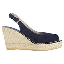 Buy Jigsaw Bella Suede Espadrille Wedges, Navy Online at johnlewis.com