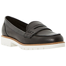 Buy Dune Gleat Cleated Sole Loafers, Black Leather Online at johnlewis.com