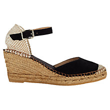 Buy Jigsaw Heeled Suede Espadrille Sandals, Black Online at johnlewis.com