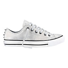 Buy Converse Chuck Taylor All Star Ox Leather Hardware Trainers, Silver/White Online at johnlewis.com