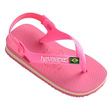 Buy Havaianas Baby Brasil Flip Flops, Shocking Pink Online at johnlewis.com