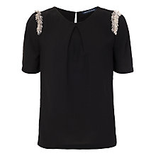 Buy French Connection Bugle Fringe Round Neck Top, Black Online at johnlewis.com