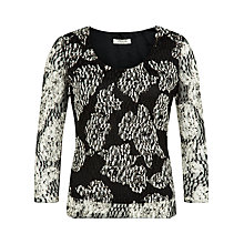 Buy Precis Petite Floral Lace Jersey Top, Black/Cream Online at johnlewis.com