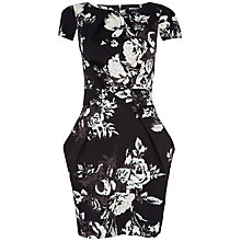 Buy Closet Floral Tie Back Cotton Dress, Black/White Online at johnlewis.com