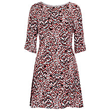 Buy French Connection Leopard Moth Crepe Flare Dress, Sunset Orange Multi Online at johnlewis.com