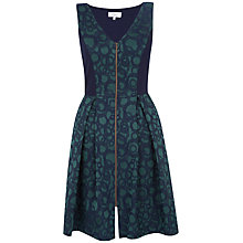 Buy Closet Jacquard Zip Front Dress, Green Online at johnlewis.com