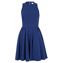 Buy Closet Studded Cut-Out Back Skater Dress, Blue Online at johnlewis.com