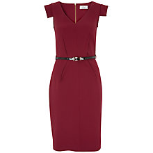 Buy Closet V Dart Belted Dress, Burgundy Online at johnlewis.com