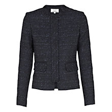 Buy Helene For Denim Wardrobe Concealed Zip Front Jacket, Navy/Blue Online at johnlewis.com