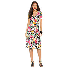 Buy Lauren Ralph Lauren Floral Surplice Jersey Dress, Multi Online at johnlewis.com