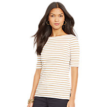 Buy Ralph Lauren Striped Cotton Boatneck Top, White/Travel Orange Online at johnlewis.com