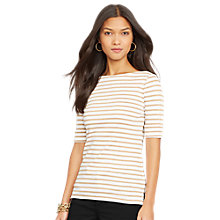 Buy Lauren Ralph Lauren Striped Cotton Boatneck Top,  White/Gold Online at johnlewis.com