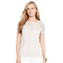 Buy Lauren Ralph Lauren Lace Short-Sleeved Top, Pearl Online at johnlewis.com