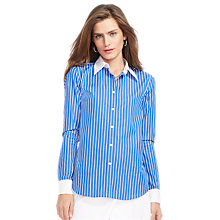 Buy Lauren Ralph Lauren Striped Cotton Shirt, Blue Oasis/White Online at johnlewis.com