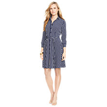 Buy Lauren Ralph Lauren Striped Belted Shirtdress, Navy/Pearl Online at johnlewis.com