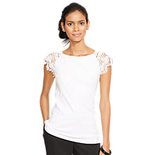 Buy Lauren Ralph Lauren Lace-Sleeved Cotton Top, White Online at johnlewis.com