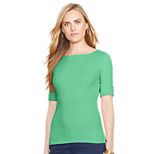 Buy Lauren Ralph Lauren Cotton Boatneck Top, Cricket Green Online at johnlewis.com