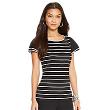 Buy Lauren Ralph Lauren Cotton Tiered-Sleeve Top, Black/Pearl Online at johnlewis.com