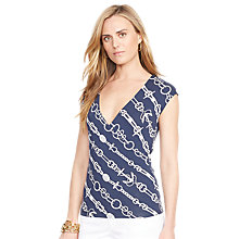 Buy Lauren Ralph Lauren Faux-Wrap Sleeveless Top, Navy Mult Online at johnlewis.com