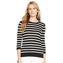 Buy Lauren Ralph Lauren Striped Crewneck Sweater, Black/Pearl Online at johnlewis.com