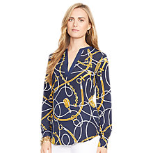 Buy Lauren Ralph Lauren Marlen Split Neck Shirt, Navy Multi Online at johnlewis.com