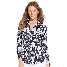 Buy Lauren Ralph Lauren Kiria Floral Print Sateen Shirt, Navy/Pearl Online at johnlewis.com
