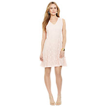 Buy Lauren Ralph Lauren Lace Sleeveless V-Neck Dress, Damask Pink Online at johnlewis.com