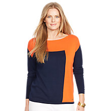 Buy Lauren Ralph Lauren Colour Block Top, Spring Navy Online at johnlewis.com