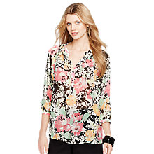 Buy Lauren Ralph Lauren Floral Split-Neck Blouse, Multi Online at johnlewis.com