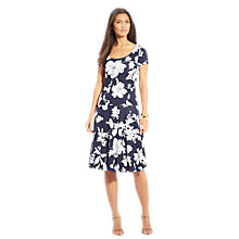 Buy Lauren Ralph Lauren Flared Scoopneck Dress, Navy/Pearl Online at johnlewis.com