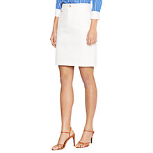 Buy Lauren Ralph Lauren Stretch-Cotton Straight Skirt, Pearl Online at johnlewis.com