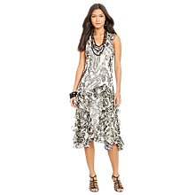 Buy Lauren Ralph Lauren Paisley Ruffled Dress, Black/Cream Online at johnlewis.com