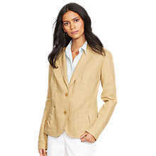Buy Lauren Ralph Lauren Linen 2-Button Blazer, Arrowhead Tan Online at johnlewis.com