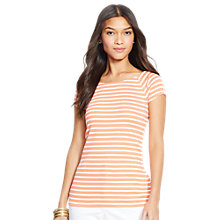 Buy Lauren Ralph Lauren Taddia Top, Baja Orange/White Online at johnlewis.com