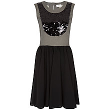 Buy Almari Sequin Contrast Skater Dress, Black Online at johnlewis.com