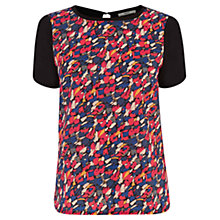 Buy Oasis Painted Print Woven Front Top, Multi Online at johnlewis.com