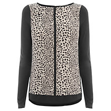 Buy Oasis Animal Woven Front Top, Mono Online at johnlewis.com