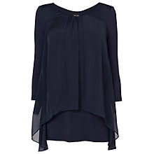 Buy Phase Eight Therese Split Back Silk Blouse, Navy Online at johnlewis.com
