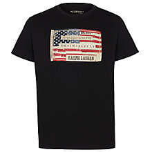 Buy Denim & Supply Ralph Lauren American Flag Applique T-Shirt, Black Online at johnlewis.com