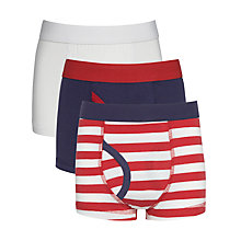 Buy John Lewis Boy Nautical Striped Trunks, Pack of 3, Red/Multi Online at johnlewis.com